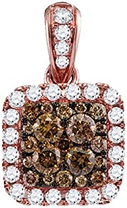 Diamond Pendant 14kt Rose Gold Cognac-brown Colored Square 1.00 Cttw(I2/i3, i/j)