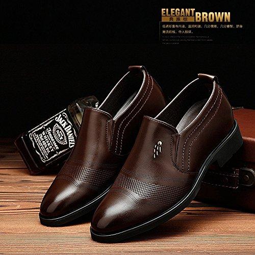 Formal Oxfords Respirables Cuero on los Hombres Aumentan Altura Que para Caballeros de Negocios para Brown Zapatos de Classic 6cm de los Hombres Slip de T5fq6vwx