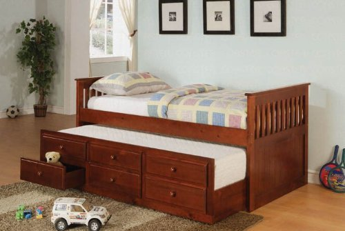 (Coaster Twin Daybed with Trundle & Drawers, Cherry Finish)