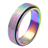 Panfinggin Big Sale for Valentine's Day Women's Men's Fashion Stainless Steel Spinner Ring Wedding Band Ring, 5-13 (US)