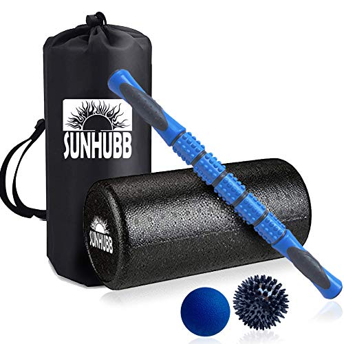 (SunHubb Muscle Roller Massage Foam Roller Set Bundle - 12