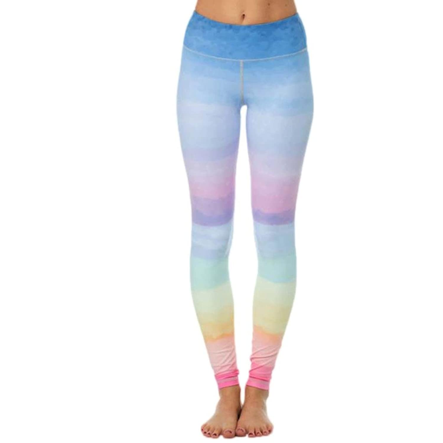 0f19cca1b987b WM & MW Fitness Pants,Women Leggings colorful Ombre Sports Gym Yoga Workout  Lounge Athletic
