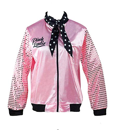 50s Womens Grease Bling Sequins Pink Ladies Jacket Fancy Halloween Costume (XL, Pink)