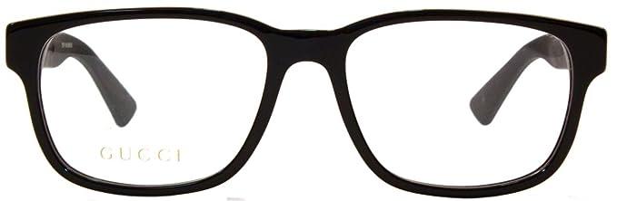 87f1e07819 gucci gg 0011o 001 black plastic square eyeglasses 53mm  Amazon.in  Clothing    Accessories