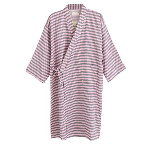 (Women Men Kimono Robe Bathrobe Cotton Sleepwear Dressing Gown Loose Loungewear Pink)