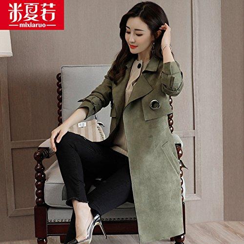 Mayihang en el pelaje largo abrigo Chaqueta All-Match femenino Verde militar