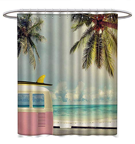 Anhuthree Surfboard Shower Curtains Fabric Extra Long Exotic Hawaii Vacation Palm Trees and Colorful Boards Water Sports Fun Activities Bathroom Decor Set with Hooks W69 x L75 Multicolor -