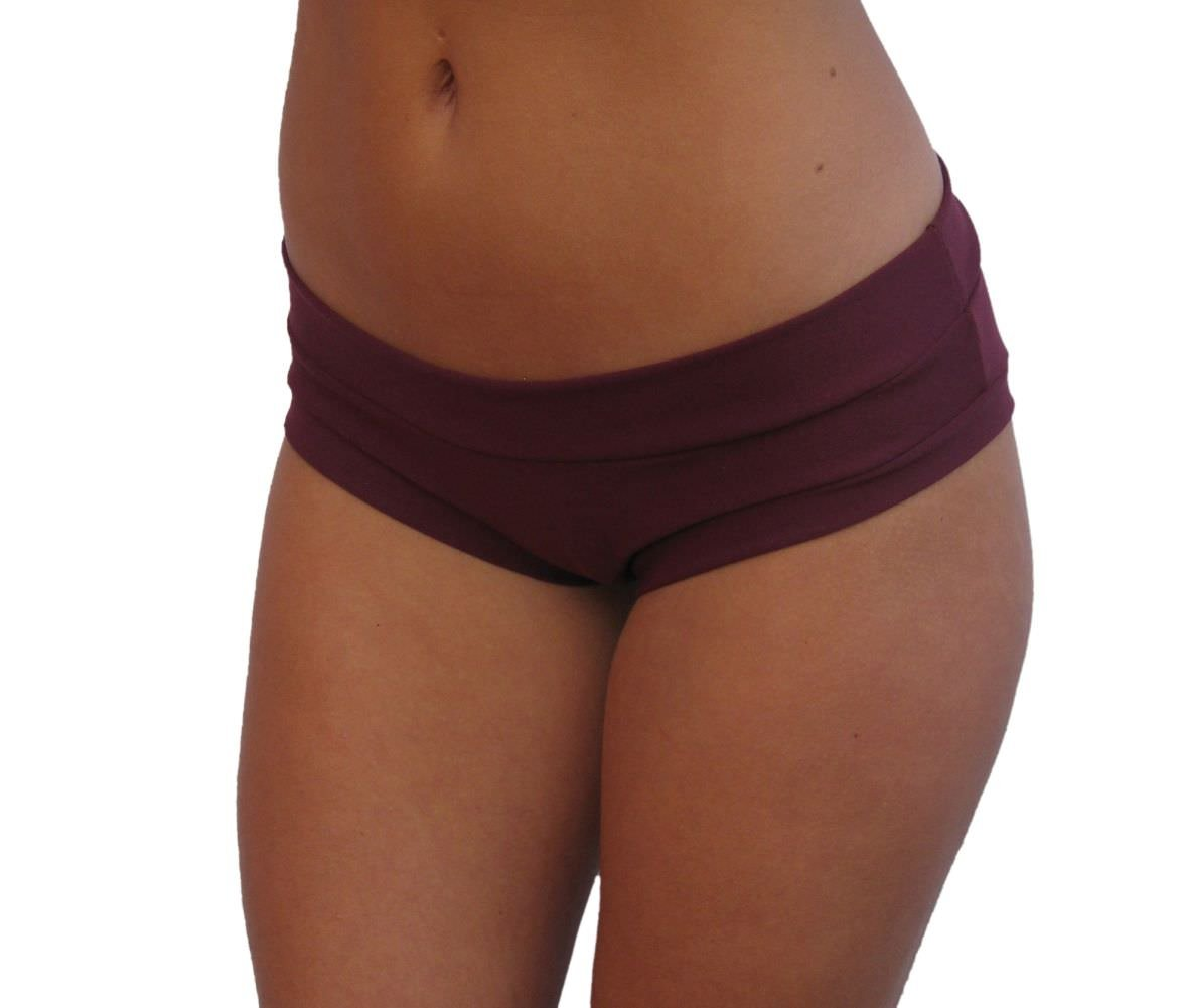 Delicate Illusions High Performance Yoga Pole Fitness Booty Shorts S (3-5) Burgundy