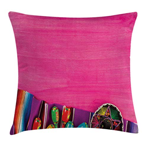 Ambesonne Mexican Throw Pillow Cushion Cover, View of Folkloric Serape Blanket Charro and Music Instruments Cultural Elements, Decorative Square Accent Pillow Case, 16