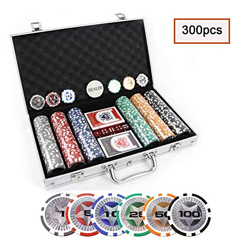 KAILE Clay Poker Chips Set 300 PCS Heavy Duty 13.5 Gram Chips Texas Holdem Cards Game Blackjack Gambling Chips with Aluminum Case (300 pcs)
