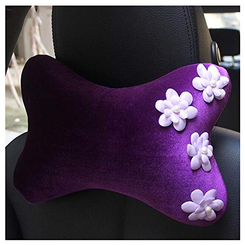 Siyibb 2 Pcs Car Plush Headrest Pillow Neck Support Cushion with Flower Decor - Purple -