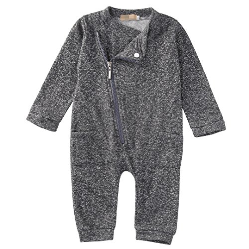 Gray Sleeper - Flower Tiger Zipper Romper With Pocket For Baby Boy (12-18 Months, Gray)