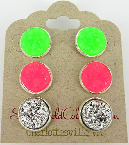 - Trio Silver-tone Neon Green Pink Faux Druzy Stone Stud Earrings 12mm Set