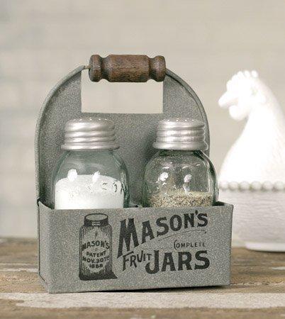 1 X Mason's Jars Box Salt and Pepper Caddy with Wood Handle ()