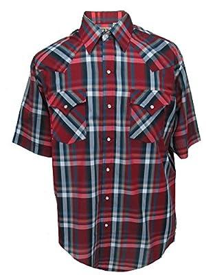 Ely Cattleman Short Sleeve Mens Red Plaid Snap Western Shirt