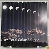 Pictures Of Funny And Happy 2017 Total Solar Eclipse Shower Curtain Custom 60'' X 72'' 100% Polyester Shower Curtain