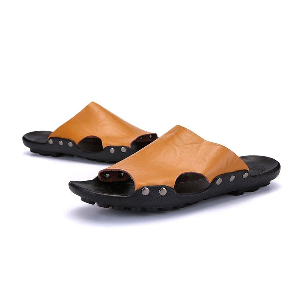 Slipper de Color Sólido de Cuero de la PU de la Piscina de los Hombres Deslizamiento en el Deslizador 42 EU|Brown