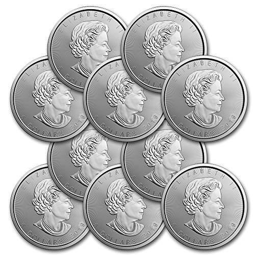 2019 Lot of (10) 1oz Silver Maple Leaf $5 Brilliant Uncirculated