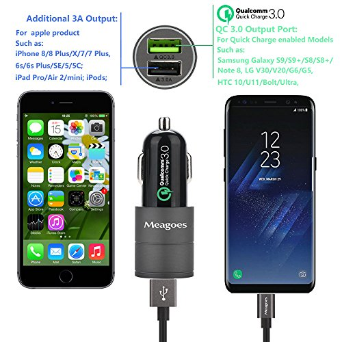 Meagoes Fast USB C Car Charger, Quick Charge 3.0 Enabled, with 1-Pack 3.3ft Type C Cord for Samsung Galaxy S9/S9+/S8/S8 Plus/Note 8, LG V30/V20/G7 ThinQ/G6, HTC 10/U11/Bolt/U Ultra More - Grey by Meagoes (Image #4)