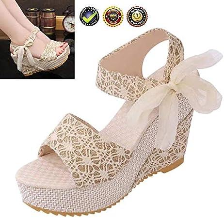 Femme Bout Ouvert Bride Cheville Talon Compensé Espadrilles Sandales Chaussures Femmes Taille 3-8