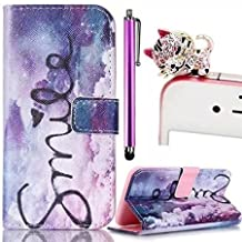 Apple iPhone 4 4S Case,Vandot 3 in 1 Set Colorful Printing Painting PU Leather Magnetic Closure Flip Stand Book Stlyle Wallet Case[Credit Card Holder][Perfect Fit] Protective Skin Cover Shell-Purple Cloud Smile Heart+Bling Cat Anti Dust Plug+Stylus Screen Touch Pen