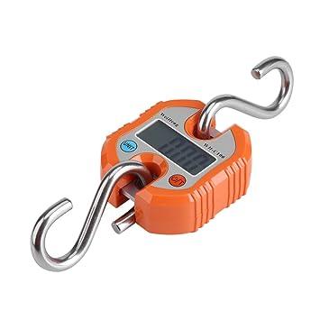 Báscula de equipaje, Mini Portátil Crane LCD Digital Gancho Electrónico Colgante Báscula Loop Pesado Balance Digital Viaje Postal Pesca Gancho Escala: ...