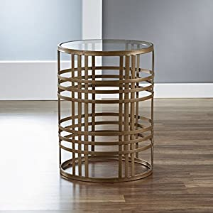 FirsTime & Co. Weave Side Table, 22H x 16.75″ W x 16.75″ D, Antique Gold