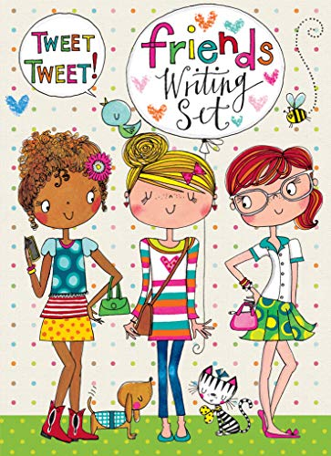 Rachel Ellen Designs Friends Girls Rule Writing Kit, Girls Stationery Paper Letter Set, Stickers, Envelope Seals]()