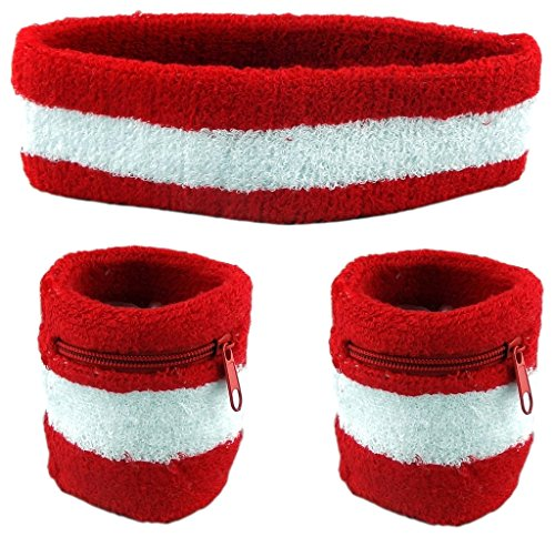 Funny Guy Mugs Unisex Sweatband Set (3-Pack: 2 Wristbands with Zipper/Wrist Wallet & 1 Headband)