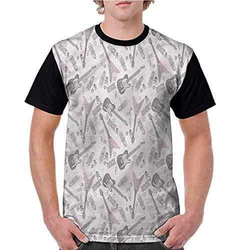 Lightly Graphic T-Shirt,Music,Guitars Shoes Skulls Stars S-XXL Men Baseball Short Sleeve Shirts