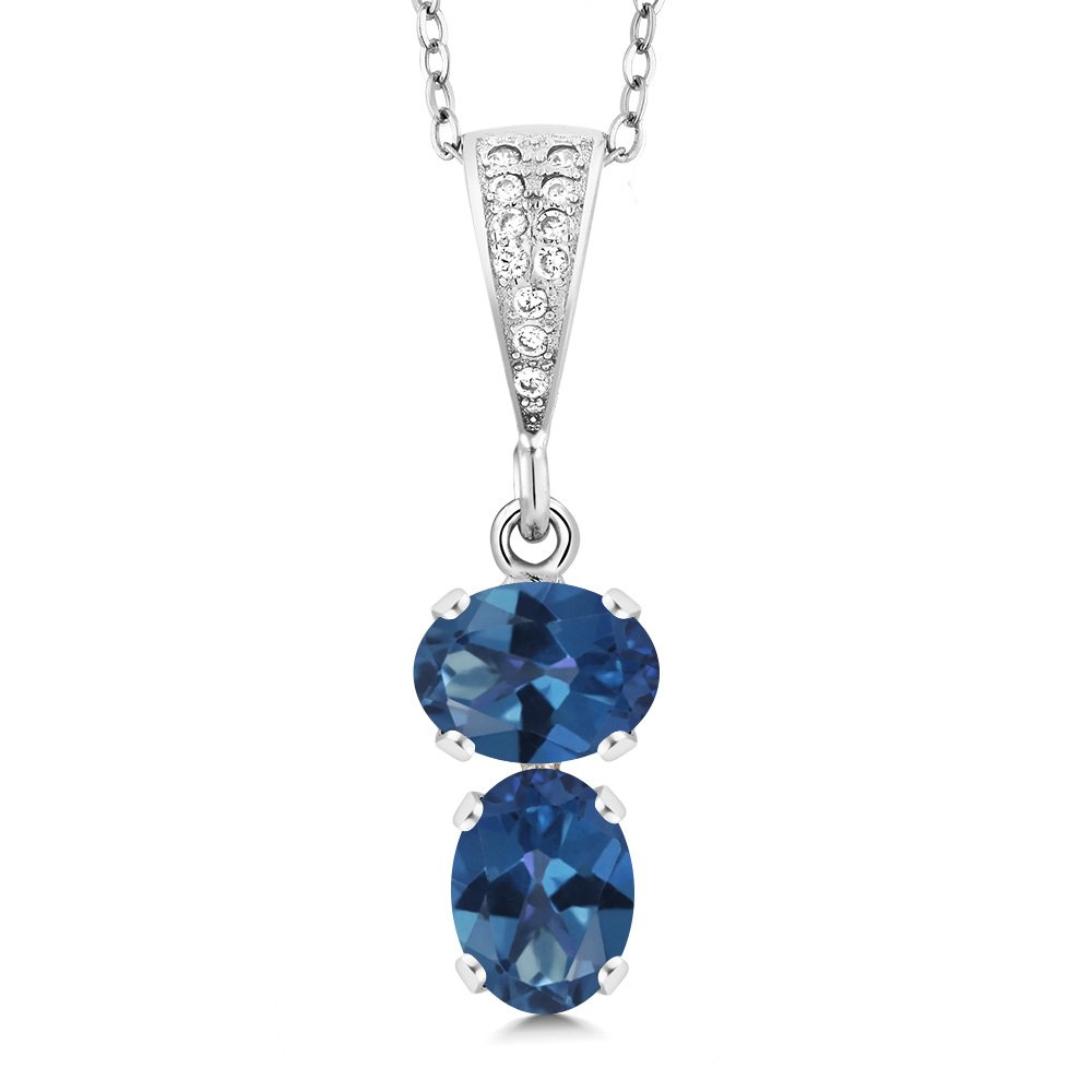 Gem Stone King 2.67 Ct Oval Royal Blue Mystic Topaz 925 Sterling Silver Pendant