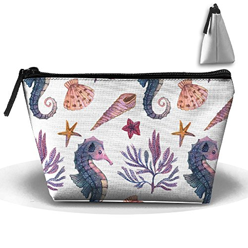 ZHIYANG Cute Sea Horse Full Print Lightweight Travel Makeup Pouch Storage Holder Travel Case Cosmetic Convenient Makeup Bag
