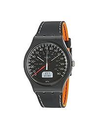 Swatch Brake Black Dial Black and Orange Silicone Unisex Watch SUOB117