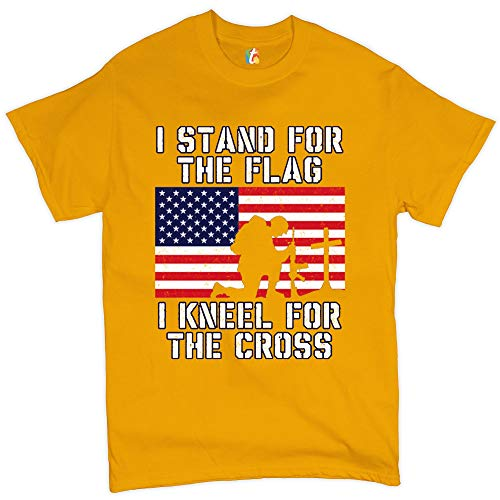 I Stand for The Flag I Kneel for The Cross T-Shirt Patriotic Military Yellow 2XL - Military Yellow T-shirt