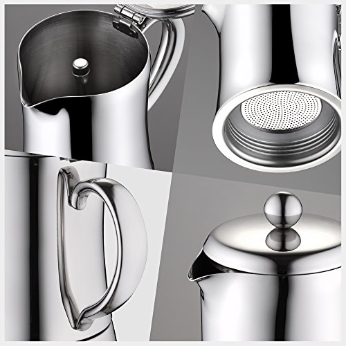 Minos Moka Pot 6-Cup Espresso Maker - Stainless Steel And Heatproof Handle - Sleek, Curvy, Elegant & Stylish Design- Suitable for Gas, Electric And Ceramic Stovetops by Minos (Image #2)'