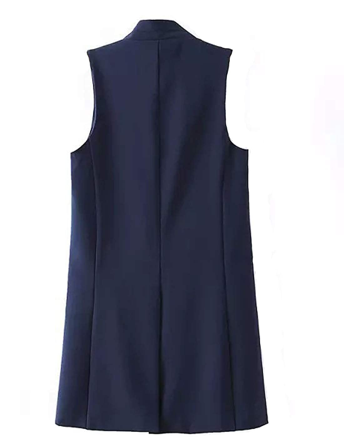 D.B.M Womens Euro Simple Solid Color Stand Collar Sleeveless Long Vest