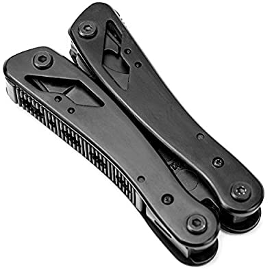"""12-in-1 All Purpose Multitool - 4"""" Ultimate Fishing Tool and Belt Knife with Screwdriver Heads (9 Pcs.) by Knack"""