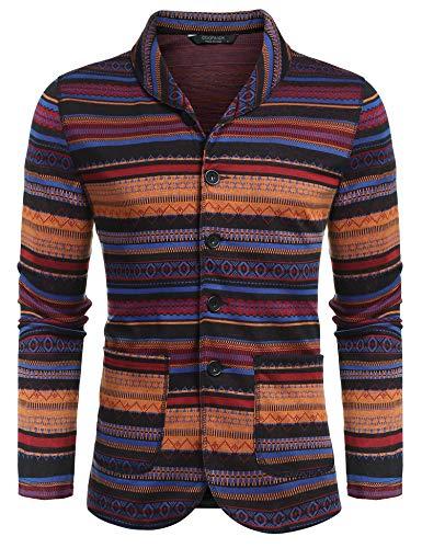 COOFANDY Men's Casual Blazer Jacket Slim Fit Vintage Multi-Color Suit Sport Coat Lightweight Cotton Jackets (01-Blue, -