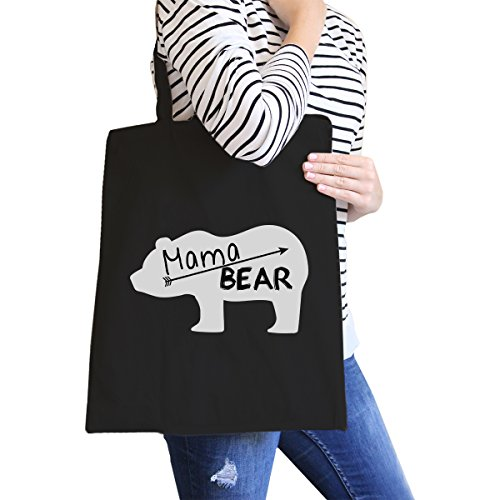 365 Printing Mama Bear Black Canvas Tote Bag Trendy Design Cute Gifts For Her Trendy Canvas Tote