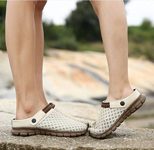 Zwei Sandalen Atmungsaktive Sommer Paare Frauen Outdoor Größe und Beige Große Hausschuhe Wandern Tragen Atmungsaktive Sandalen Schweiß Mesh Hausschuhe LIANGXIE Männer gwqza7
