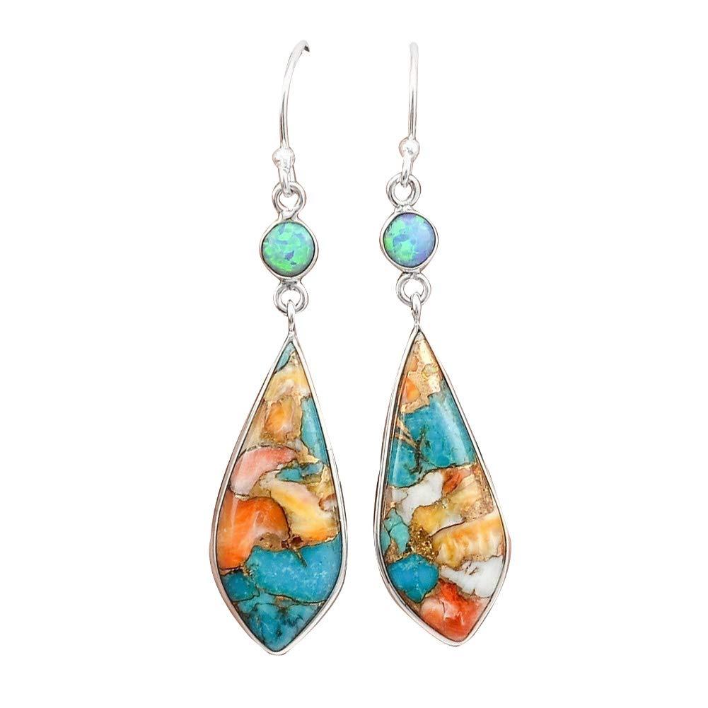 Himpokejg Women's Fashion Vintage Jewelry Faux Turquoise Rhinestone Dangle Ear Hook Drop Earrings Colorful