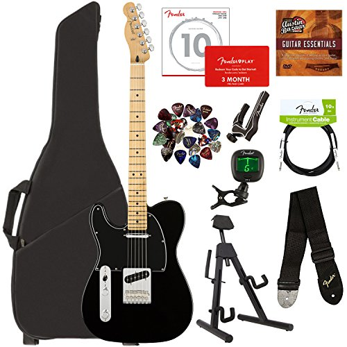 Fender Player Telecaster, Maple, Left Handed - Black Bundle with Gig Bag, Stand, Cable, Tuner, Strap, Strings, Picks, Capo, Fender Play Online Lessons, and Austin Bazaar Instructional DVD