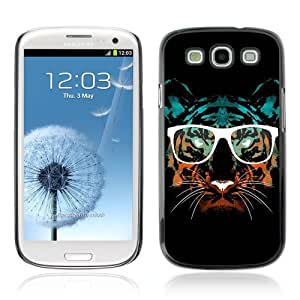 Designer Depo Hard Protection Case for Samsung Galaxy S3 / Hipster Glasses Cool Tiger