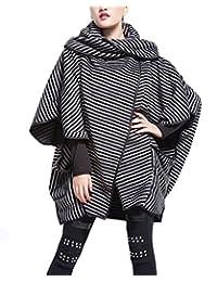FANOVI Women's Big Pocket Lapel Collar Open Front Striped Baggy Coat Outerwear