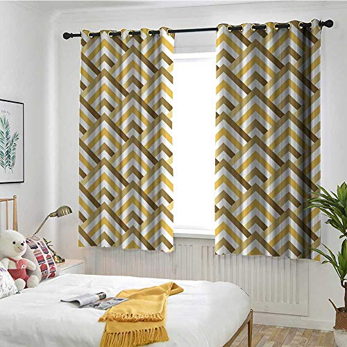 MaryMunger Gold and White Window Curtains Pyramids Inspired Triangle Zig Zags with Inner Details Art Energy Efficient, Room Darkening W 55