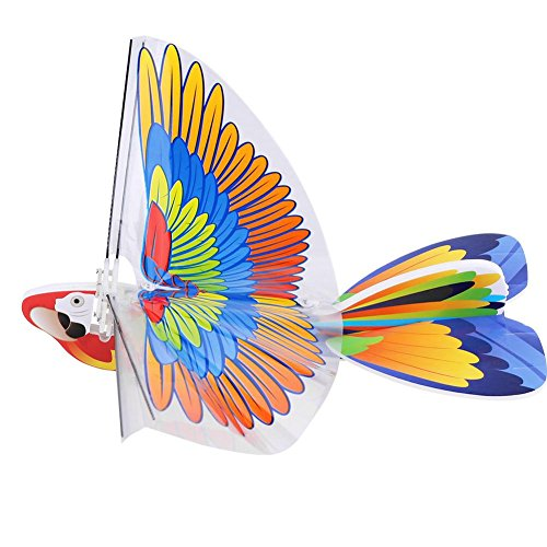Dilwe Flying RC e-Birds, Remote Control Eagle Parrot Birds Kids Children Toys (Two Types) (Orange and Blue Wing)