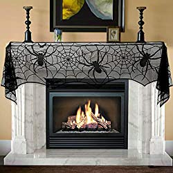 Unomor Halloween Decorations Jumbo Black Lace Spiderweb Fireplace Mantle Scarf Cover Halloween Party Supplies for Door, Table, Stairs, Garden Fence 65 X 308cm 25 x 121 inch