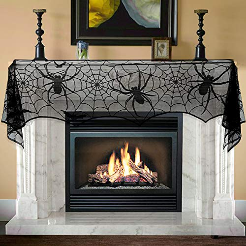 Unomor Halloween Decorations Jumbo Black Lace Spiderweb Fireplace Mantle Scarf Cover Halloween Party Supplies for Door, Table, Stairs, Garden Fence 65 X 308cm 25 x 121 inch for $<!--$7.99-->