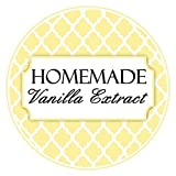 homemade extracts - 36 Vanilla Extract Labels, Yellow Quatrafoil Vanilla stickers, Homemade Kitchen Labels