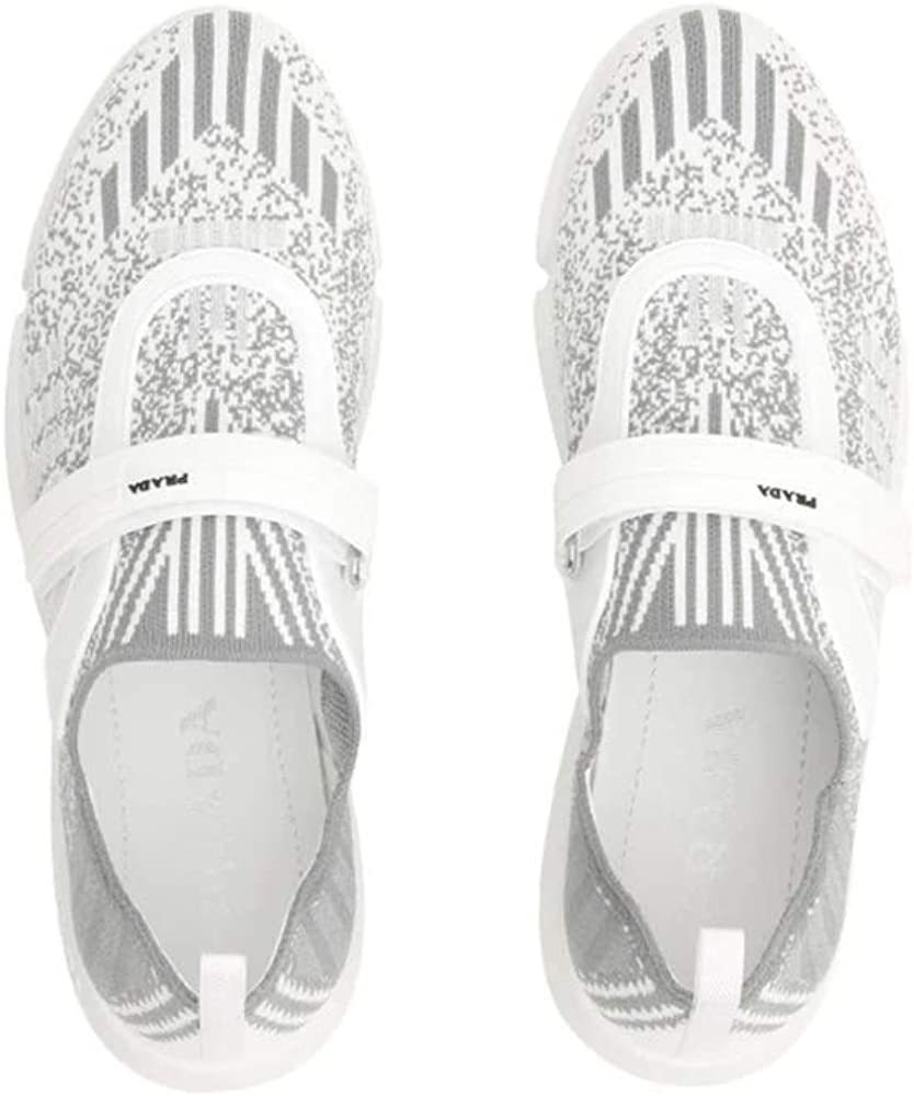 Prada Women's Knit Fabric Cloudbust Sneakers Shoes White/Grey White